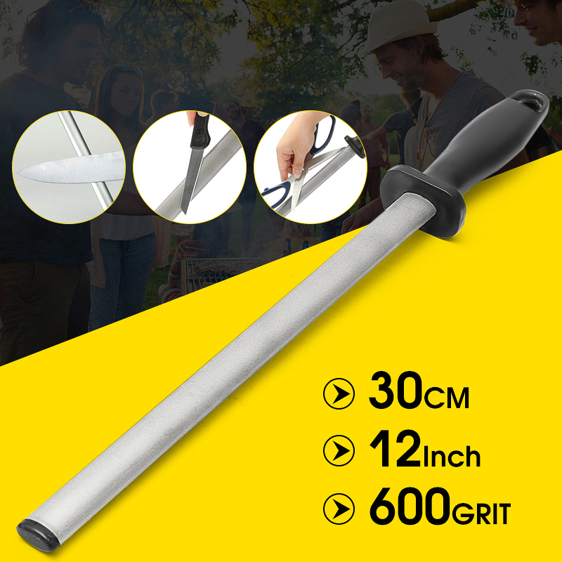 12inch/30cm 600# Grit Diamond Knife Sharpening Hand Held Steel Rod Fish Hook Sharpener Wheststone with ABS Handle Tool for Home Kitchen Outdoor