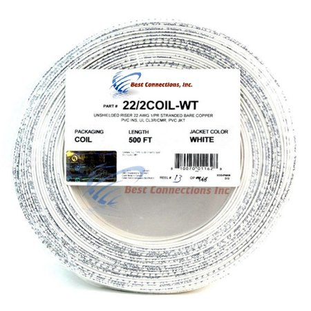 Alarm Wire White 22 Gauge Copper Stranded 2 Conductor 500' Coil Pack UL (Best Wire For Coil Building)