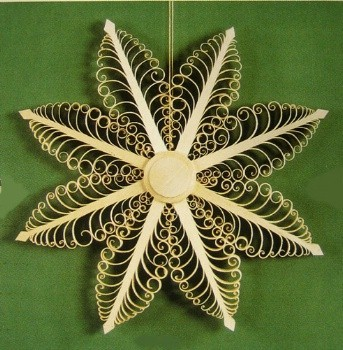 German Wooden Star Scene Ornament  - Made in Germany