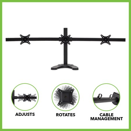 NavePoint Triple LCD Curved Monitor Mount Stand Free Standing With Adjustable Tilt Holds 3 Monitors Up To 24-Inches Black