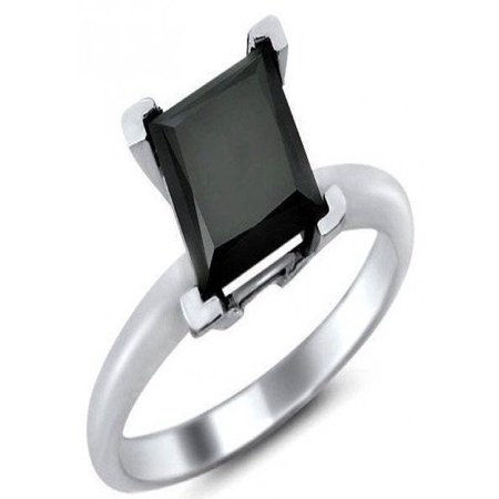 1 Carat Solitaire Princess cut Black Diamond Engagement Ring for Women in White Gold, Limited Time Sale Under 300