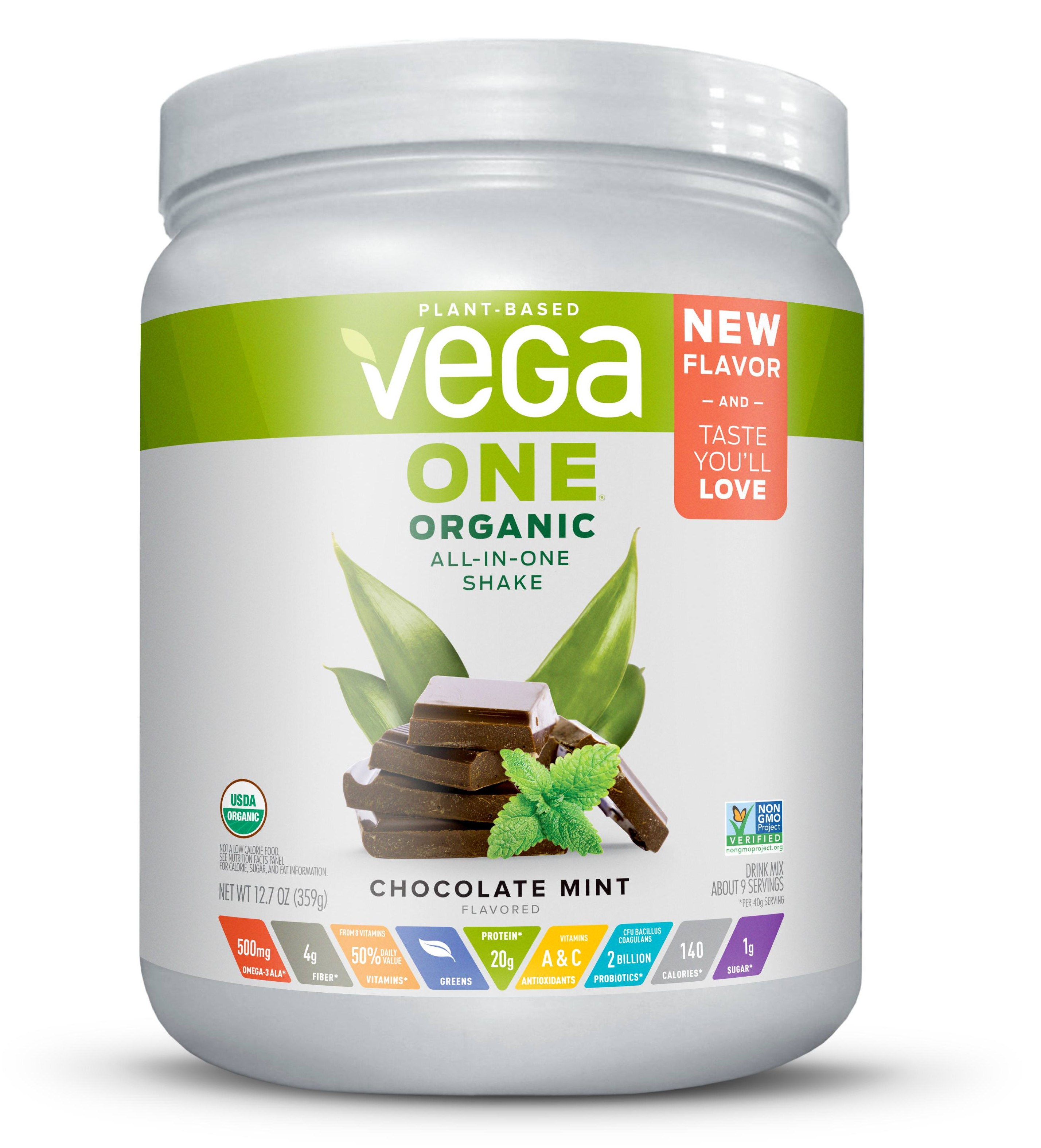 Vega One Organic Vegan Protein Powder, Chocolate Mint, 20g Protein, 12.7 Oz