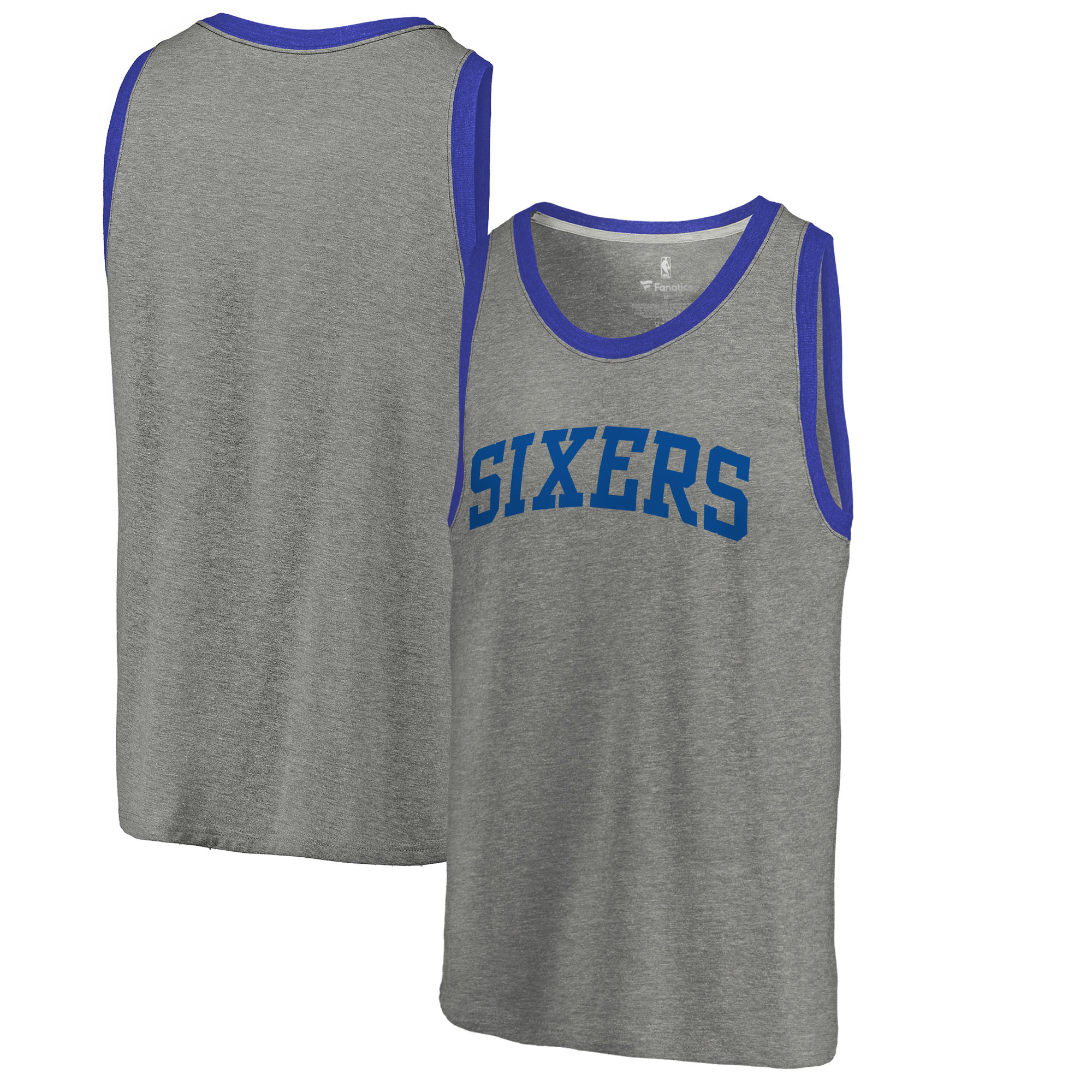 Philadelphia 76ers Fanatics Branded Wordmark Tri-Blend Tank Top - Heathered Gray