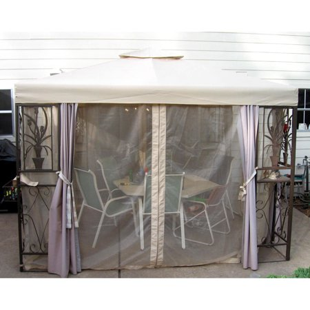 Garden Winds Replacement Canopy Top and Side Mosquito Netting Set for Tulip Design Gazebo ()