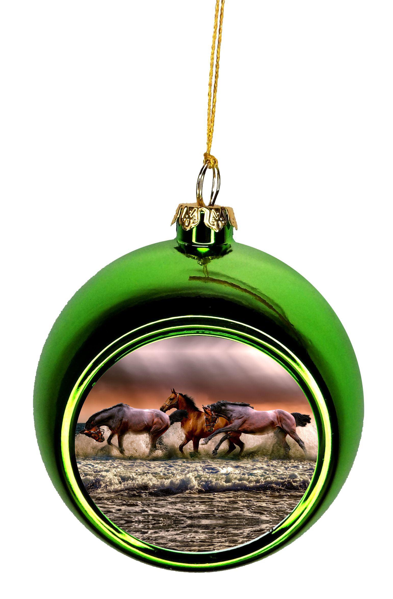 Horse Ornaments Christmas Horses In The Ocean Bauble Christmas Ornaments Green Bauble Tree Xmas Balls Walmart Com Walmart Com