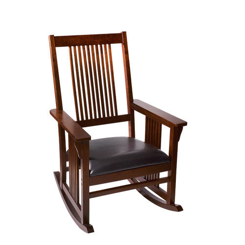 Mission Style Adult Rocking Chair with Upholstered Seat-Finish:Cherry