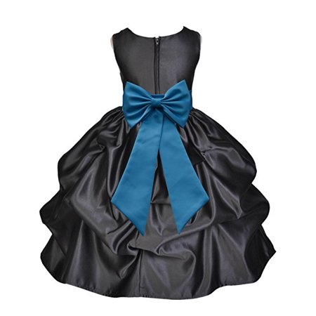 Ekidsbridal Black Satin Pick-Up Flower Girl Dress Toddler Girl Dresses Junior Bridesmaid Dress Pageant Gown Birthday Girl Dress Communion Dress Baptism Dress Christening Dress Daily Dresses 208T ()