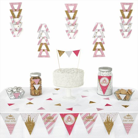 Little Princess Crown - Triangle Pink and Gold Princess Baby Shower or Birthday Party Decoration Kit - 72 Piece (Princess Baby Shower Decorations)