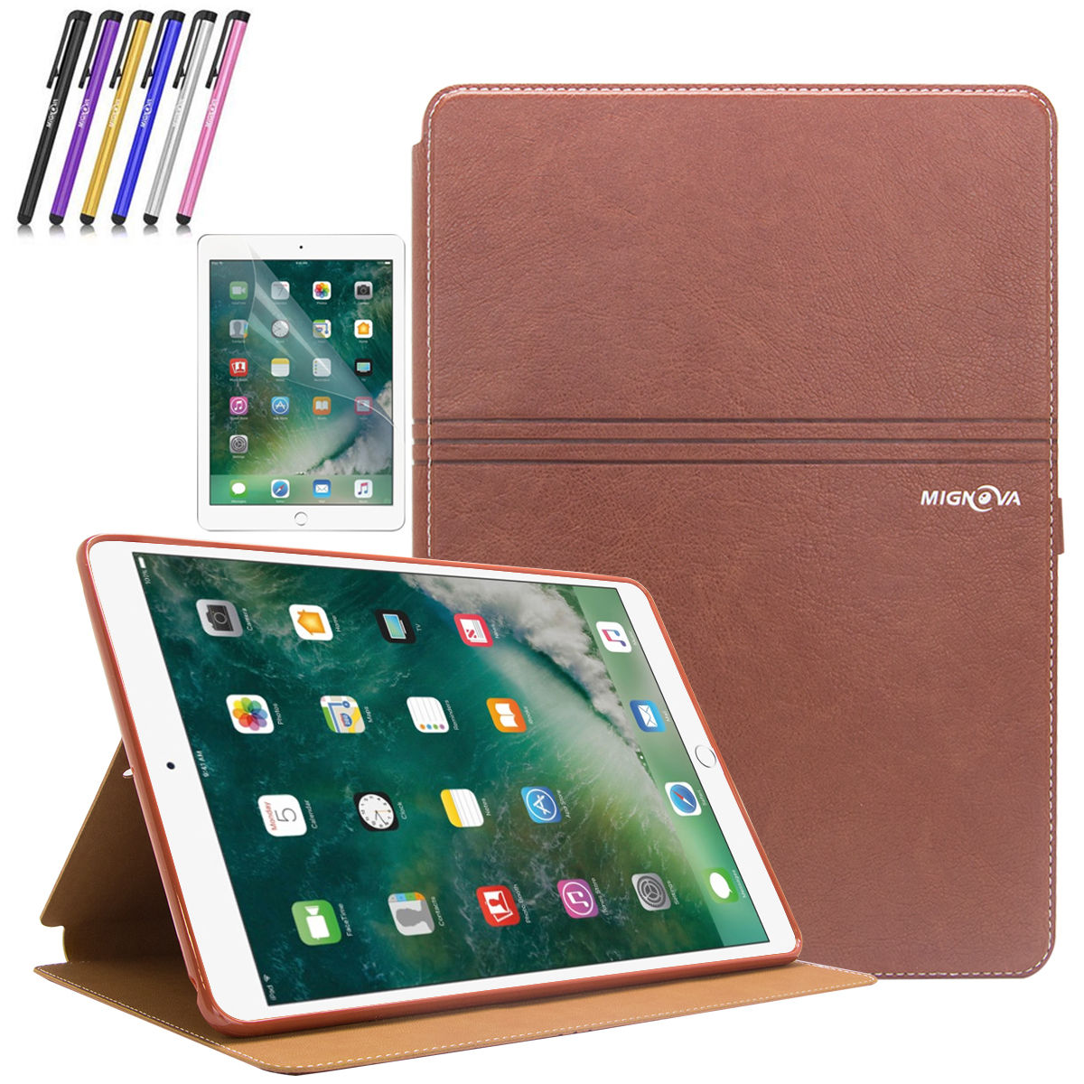 New iPad Pro 10.5 Case, Mignova Synthetic Leather Folio Smart Cover with Auto Sleep / Wake for Apple iPad Pro 10.5 inch 2017 Release A1701 / A1709 + Screen Protector Film and Stylus Pen (Black)