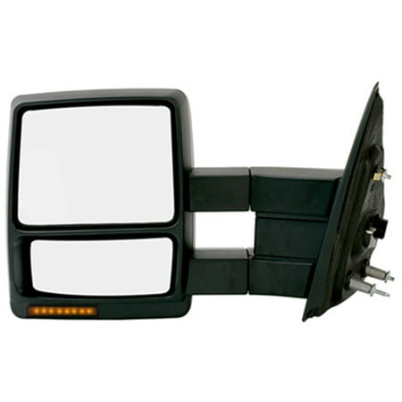 61186F - Fit System Driver Side Towing Mirror for 09-12 Ford F150 extendable, w/ turn signal & puddle lamp, textured black, foldaway, Heated Power 2000 Ford F150 Mirror
