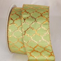 "Moroccan Princess Green and Gold Wired Craft Ribbon 3"" x 20 Yards"