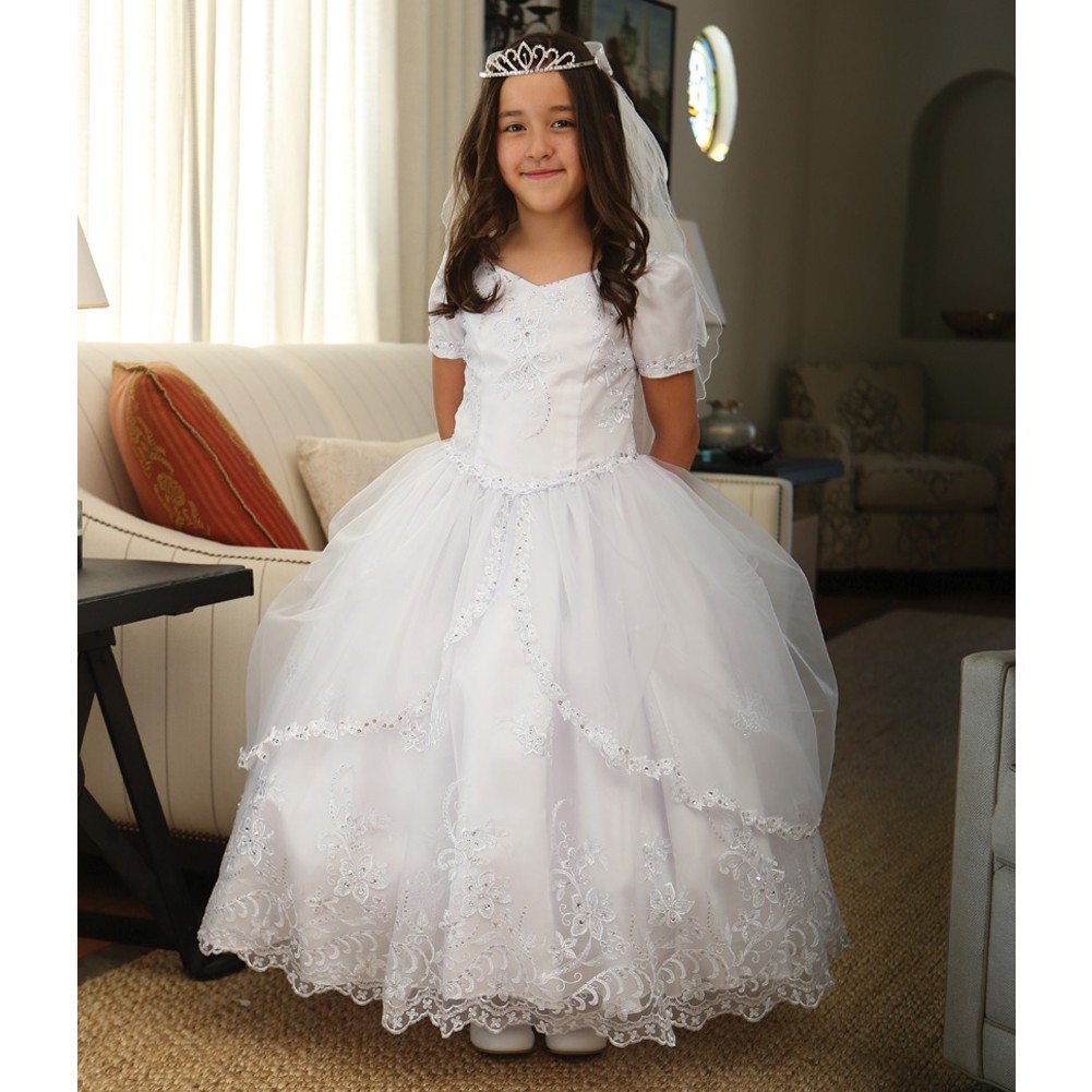 Angels Garment Girls White Embroidered Organza Communion Dress 7-18
