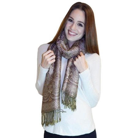 Art Fashions of Europe B6-3 Women Silk Blend Shiny Pashmina Scarf - Brown