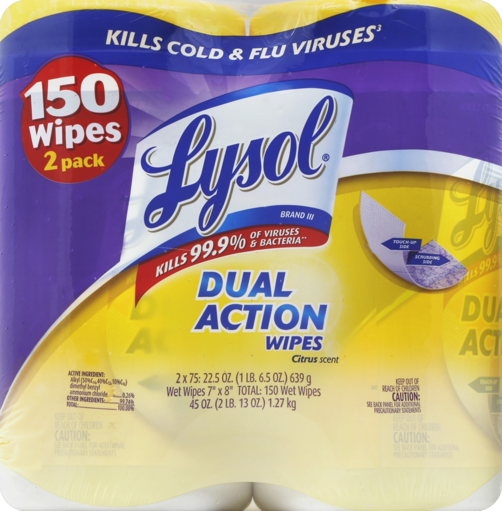 Lysol Dual Action Disinfecting Wipes Value Pack, Citrus, 150 Count