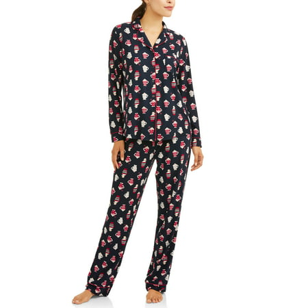 Women's and Women's Plus Printed Lush Notch Collar 2-Piece Sleep Set](Plus Size Onesies For Adults)