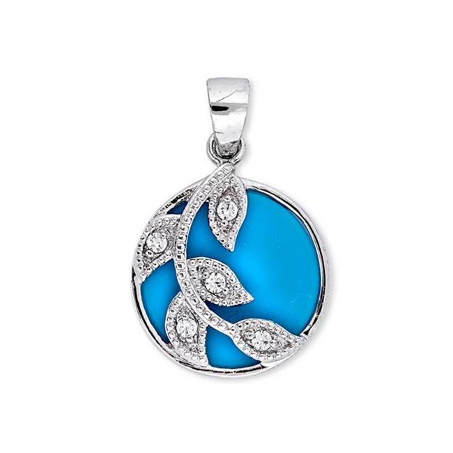 CZ PEN1065-T Simulated Turquoise Sterling Silver Branch Circle Leaves Pendant