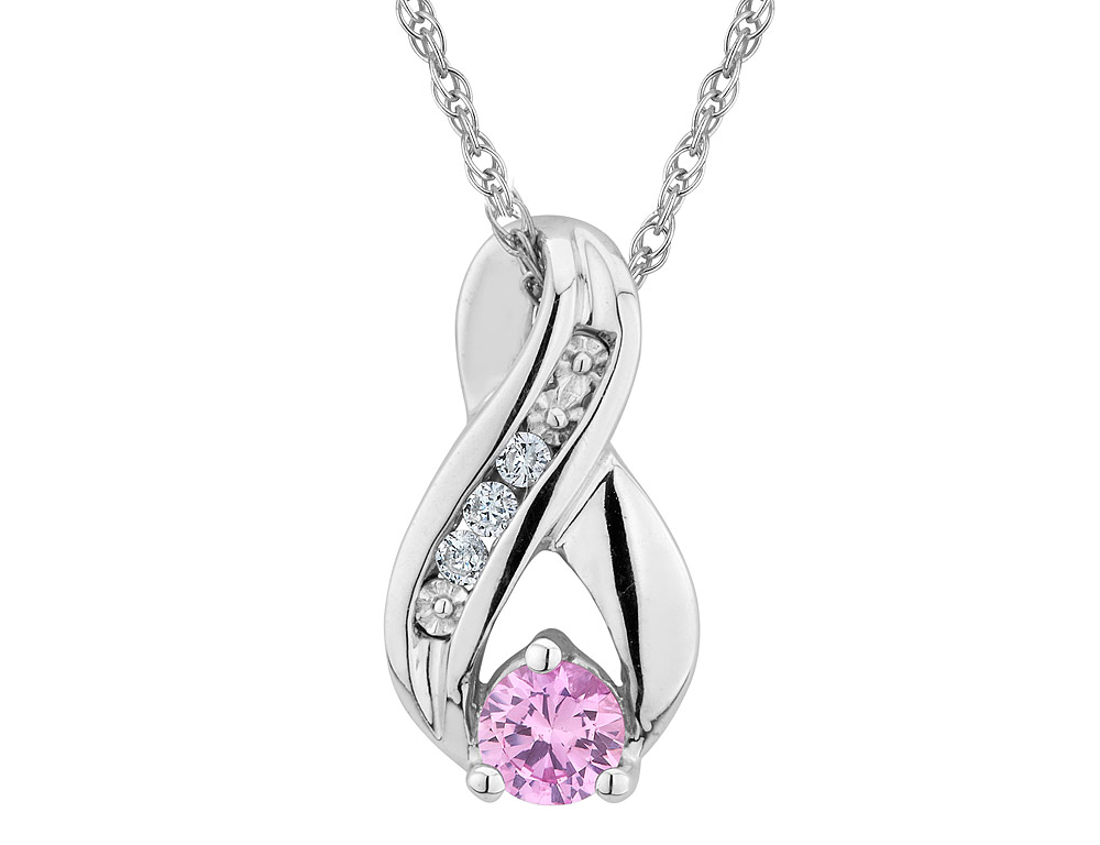 Created Pink Sapphire Infinity Pendant Necklace with Diamonds in Sterling Silver with Chain by Gem And Harmony