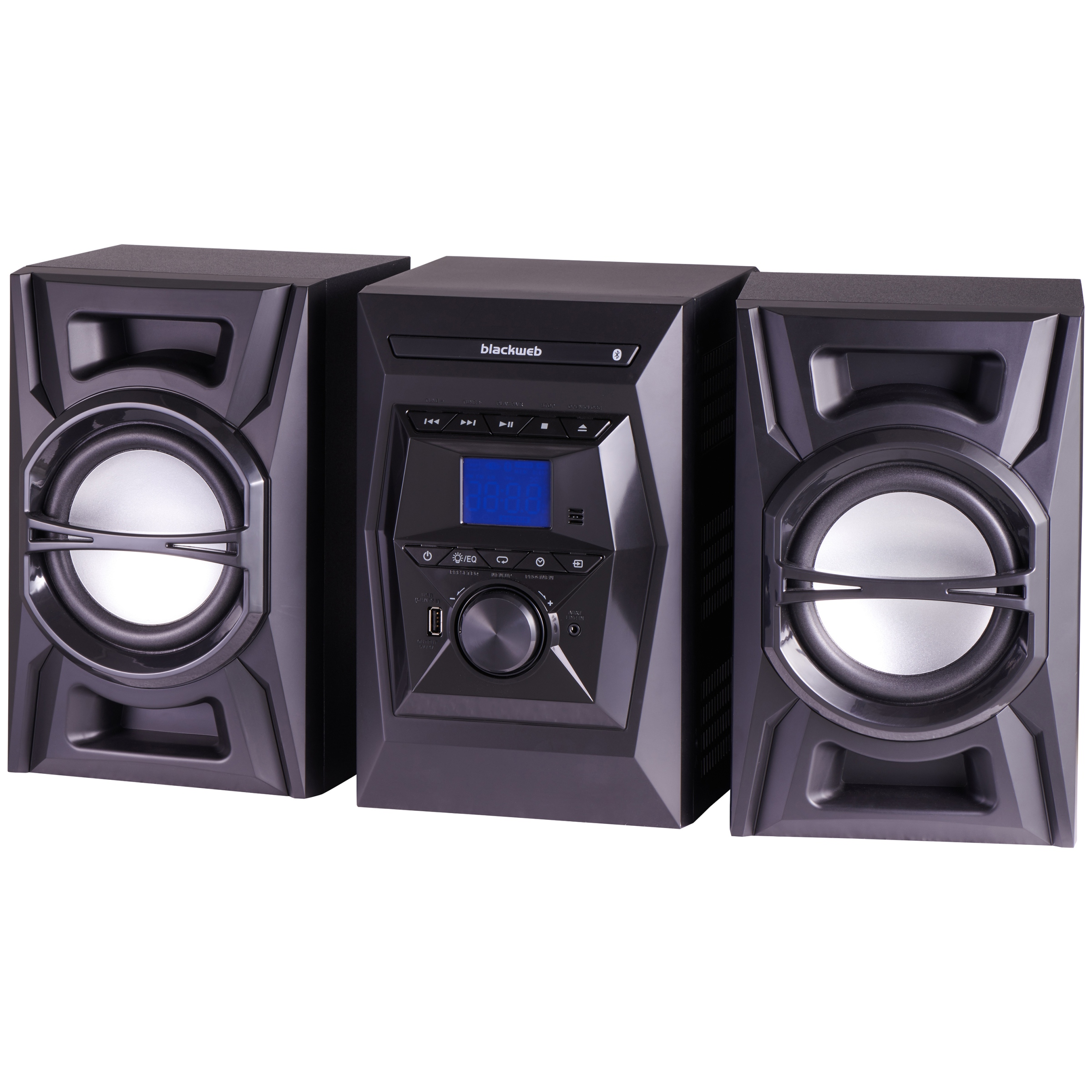 Blackweb 100 Watt Bluetooth Cd Stereo System, Black With Led Lighting Effects