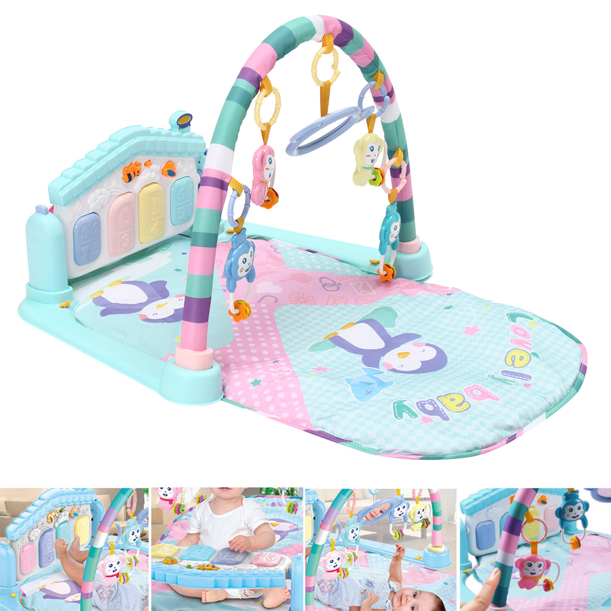 Meigar Baby Play Mat Gym, 3 in1 Newborn Infant Baby Musical Piano Play Mat Blanket Kids Activity Carpet Rug