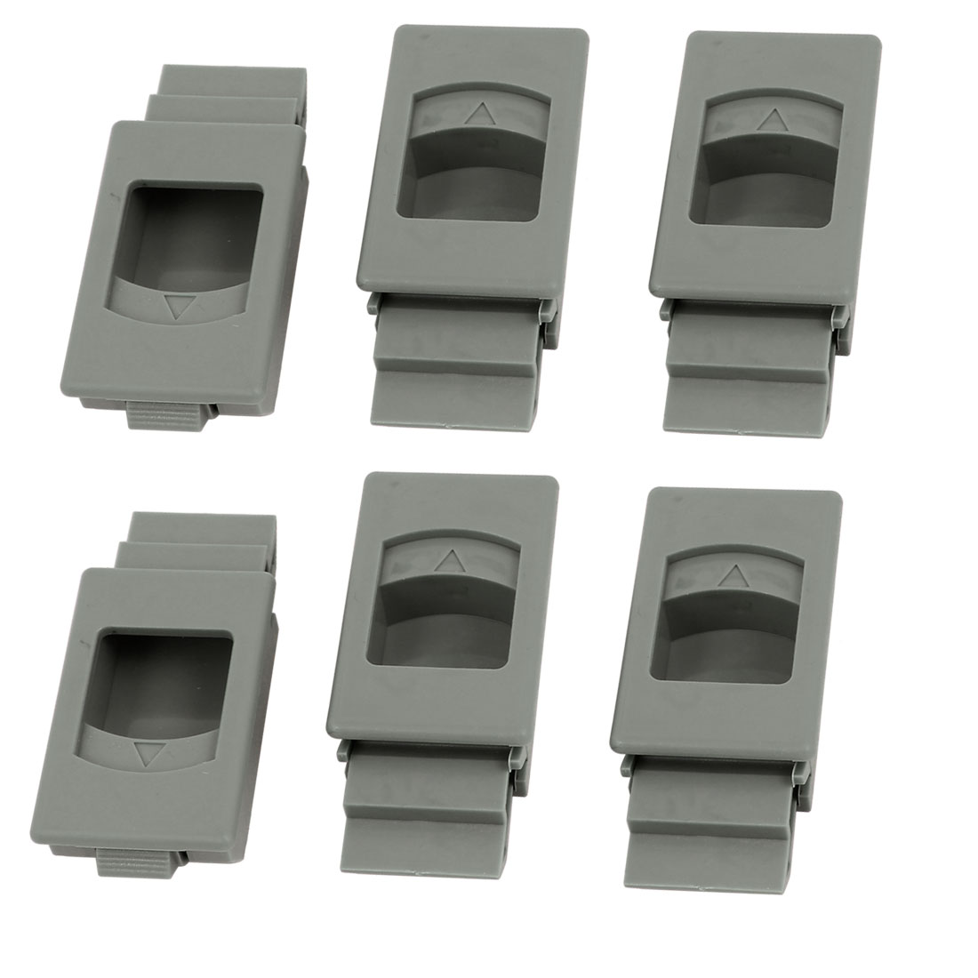 Window Door Inside Pull Rectangular Plastic Slide Latch Fittings 6pcs