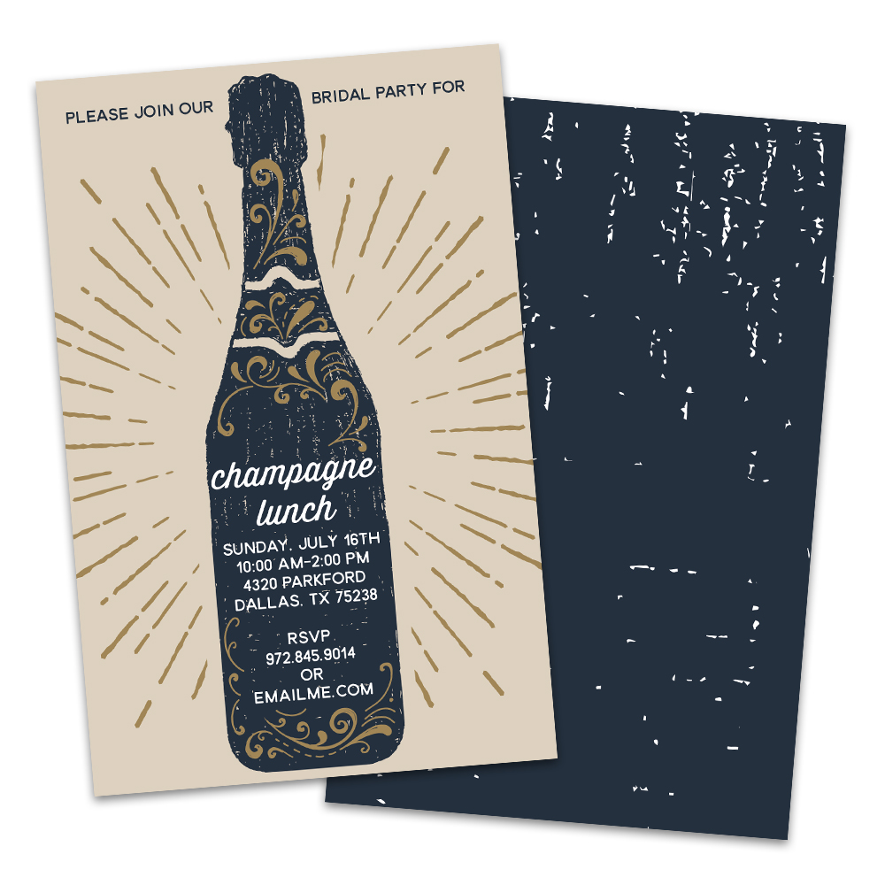 Personalized Vintage Champagne Bottle Bridal Luncheon Invitation