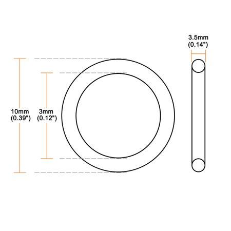 O-Rings Nitrile Rubber 3mm x 10mm x 3.5mm Seal Rings Sealing Gasket 50pcs - image 2 of 3