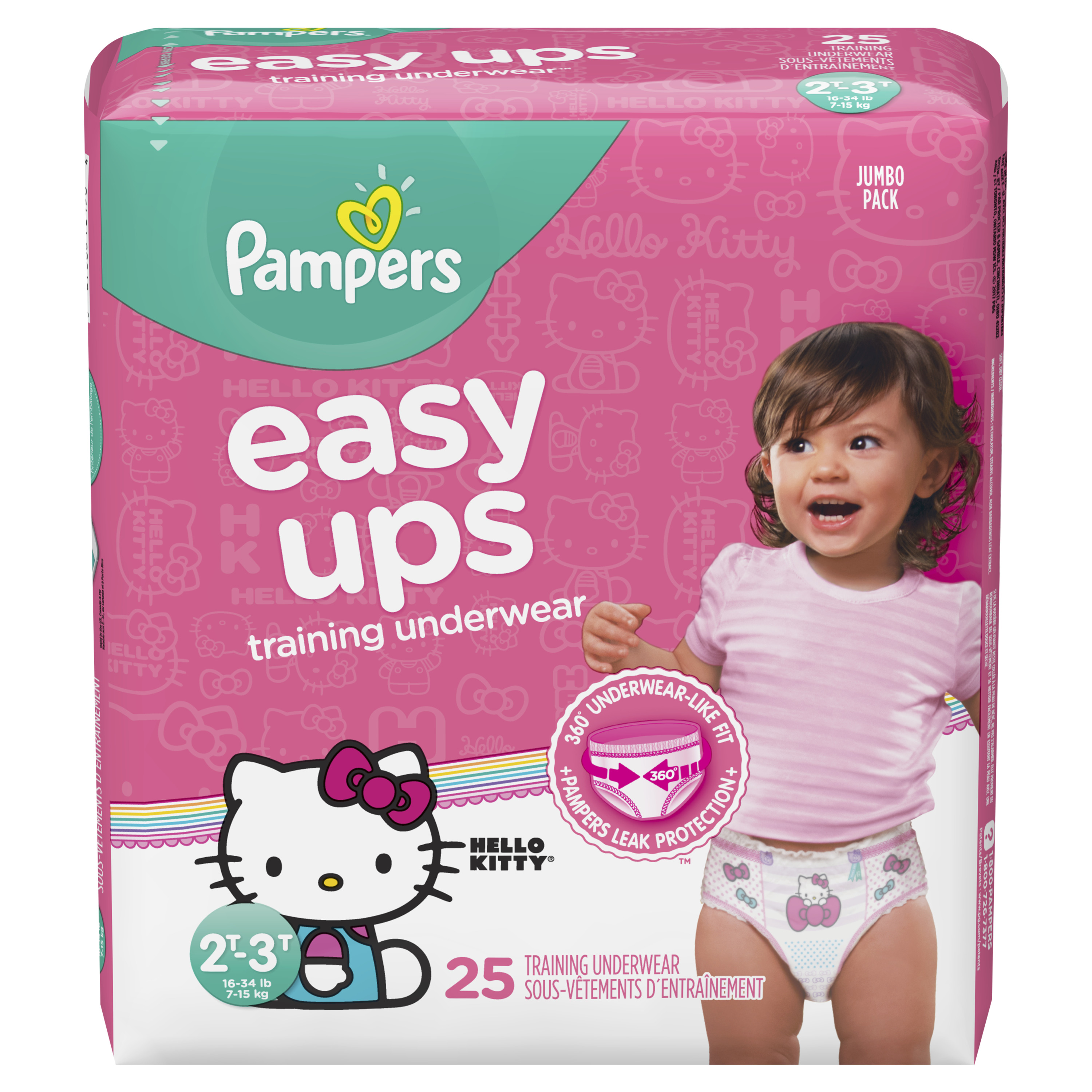 Pampers Easy Ups Training Underwear Girls Size 4 2T-3T 25 Count