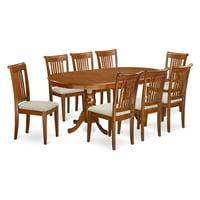 East West Furniture Plainville 9 Piece Windsor Dining Table Set