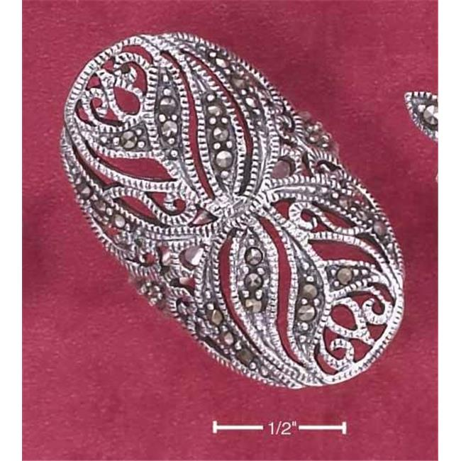 Sterling Silver Large Floral Filigree Marcasite Ring - Size 8