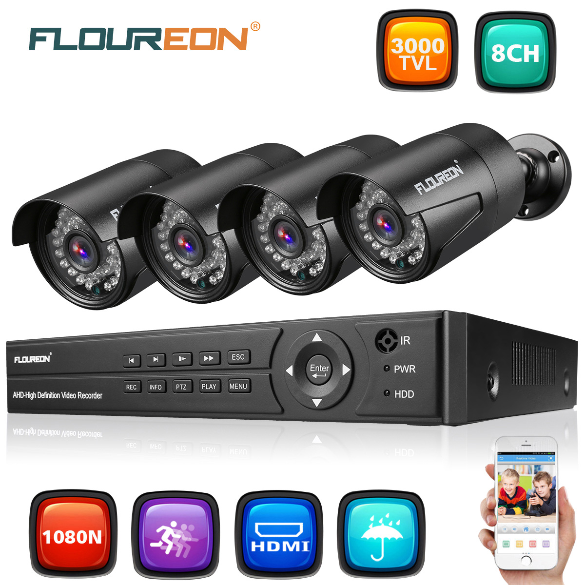 Floureon 8 CH House Camera System DVR 1080N AHD + 4 Outdoor/Indoor Bullet Home Security Cameras 3000TVL 1080P 2.0MP Resolution Night Version for