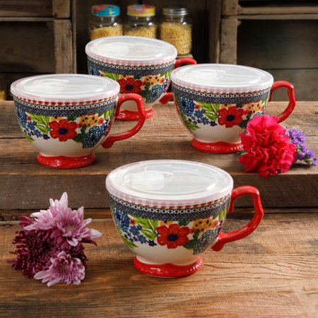 Dazzling Saree - The Pioneer Woman Dazzling Dahlias 27oz Mug with Lid, Set of 4