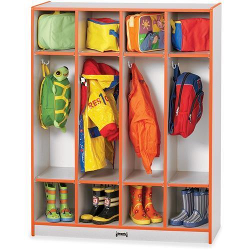 "0268JCWW114 Rainbow Accents 4 Section Coat Locker - 50.5"" Height x 39"" Width x 15"" Depth - 4 Compartment(s) - Orange"