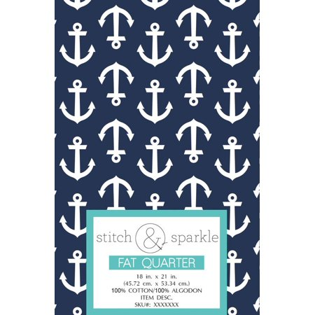 RTC Patriotic fabrics 100% Cotton, Anchor, 140 Gsm, Fat Quarter, 3 pieces bundle ()