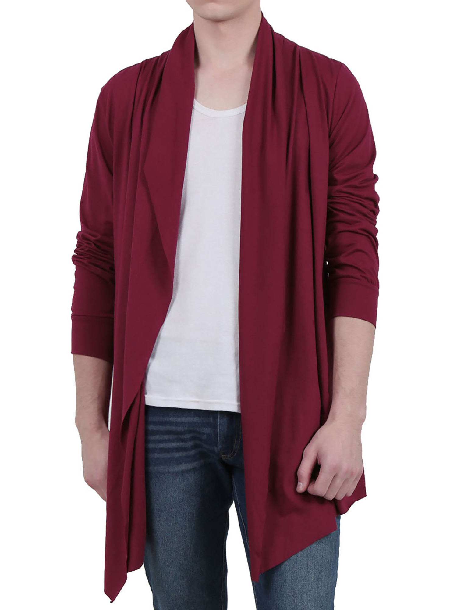 Men Open Front Long Sleeve High-Low Hem Long Cardigans L Red