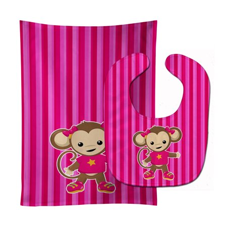 Monkey On Pink Stripes Baby Bib   Burp Cloth Bb7020stbu