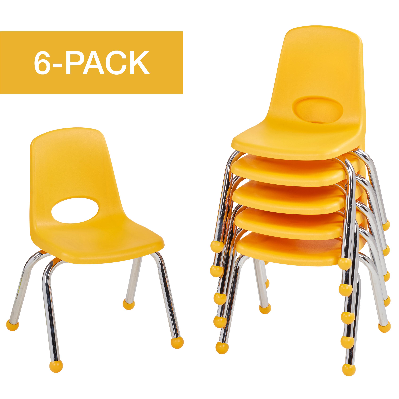 ECR4Kids School Stack Chair Chrome Legs, Multiple Sizes/Colors/Types