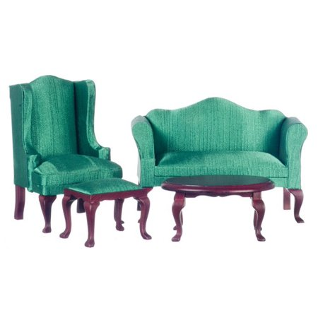 Dollhouse Mahogany/Green Queen Anne Living Room Set/4Pc