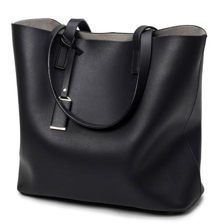 Women's Microfiber Leather Casual Handbags High-capacity Bucket Totes Solid Color Shoulder Bag Set (Leather Bucket Bags Handbags)