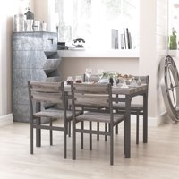 Zenvida 5 Piece Dining Set Rustic Grey Wooden Kitchen Table and 4 Chairs