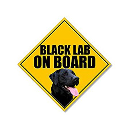 BLACK LAB ON BOARD Sign Shaped Sticker Decal (labrador dog breed decal) 7 x 7 inch (tip to (Dog Breed Window Decals)