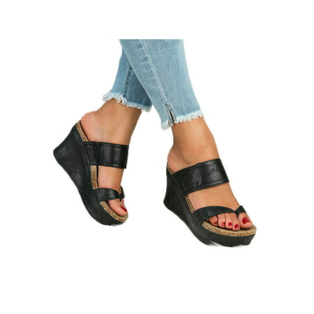 Women Wedge Sandals Platform High Heels Slipper Summer Slip On Shoes - Slipper Heels Shoes