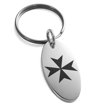 Stainless Steel Maltese Cross Engraved Small Oval Charm Keychain (Engraved Maltese)