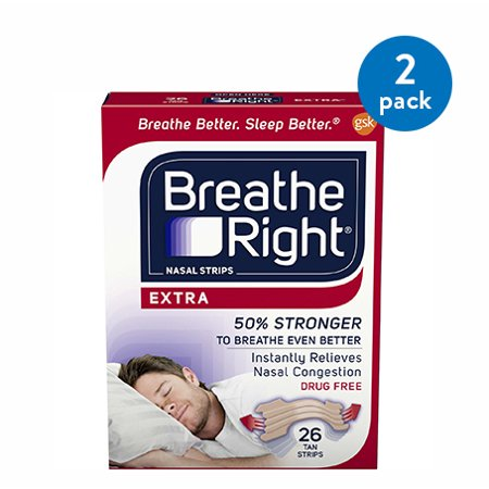 (2 Pack) Breathe Right Nasal Strips to Stop Snoring, Drug-Free, Extra Tan, 26 count Breathe Right Nasal Strips