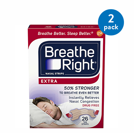 (2 Pack) Breathe Right Nasal Strips to Stop Snoring, Drug-Free, Extra Tan, 26 count