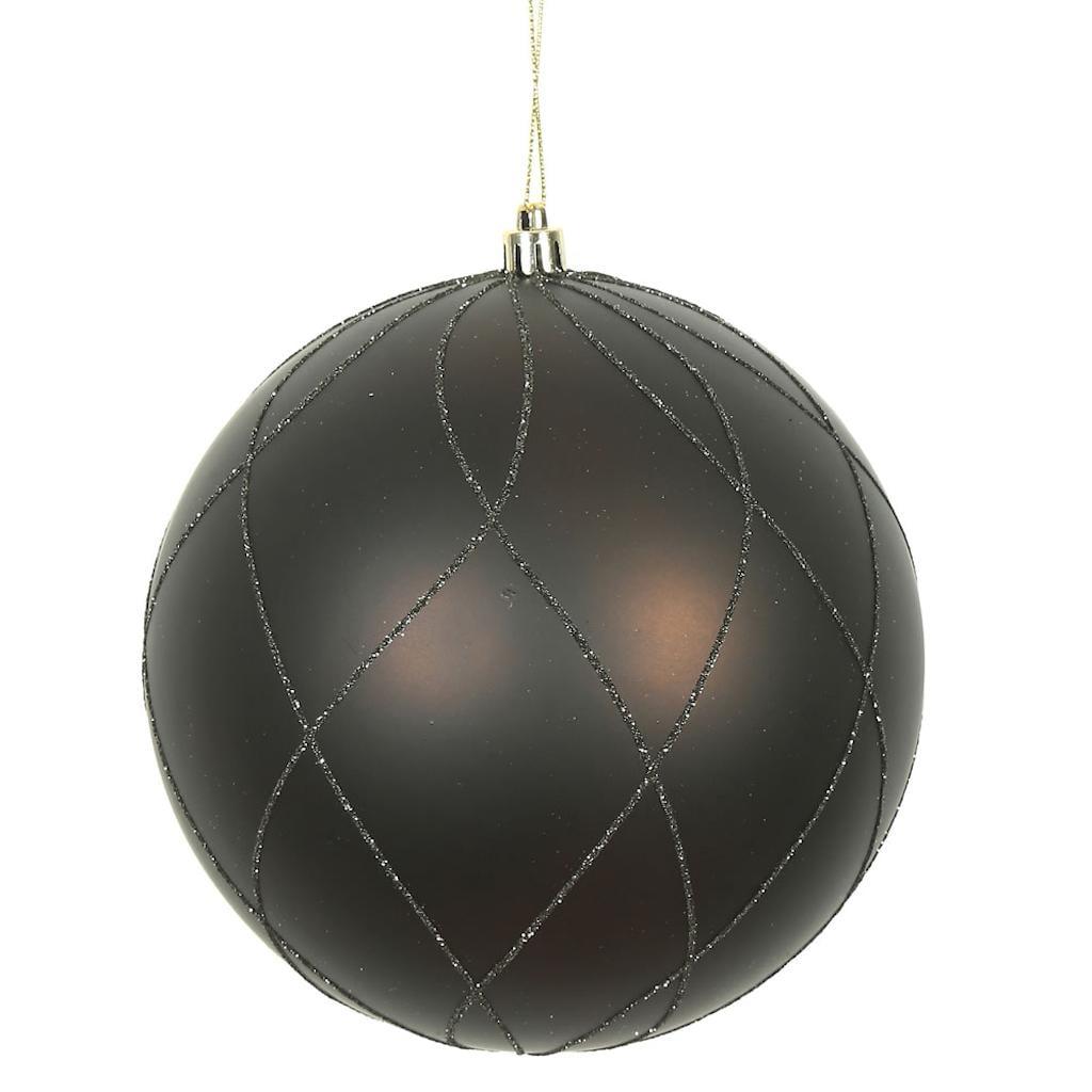 "Vickerman 472200 - 8"" Chocolate Matte/Glitter Swirl Ball  Christmas Christmas Tree Ornament (N170875D)"