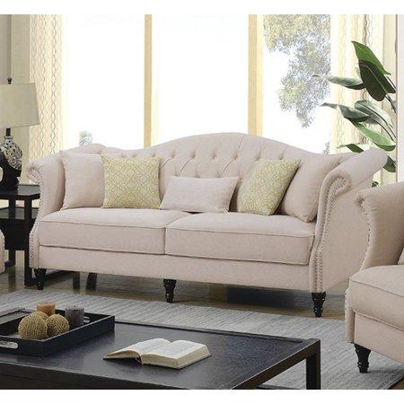 Design Sofa Set (Transitional Design Beige Color Linen Fabric 2pc Sofa Set Living Room Furniture )