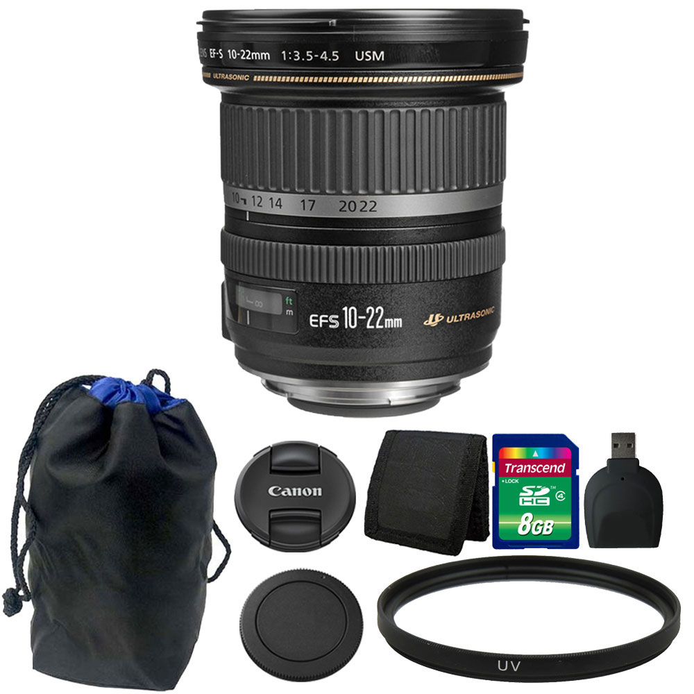 Canon EF-S 10-22mm f/3.5-4.5 USM Lens 8GB Accessory Kit f...