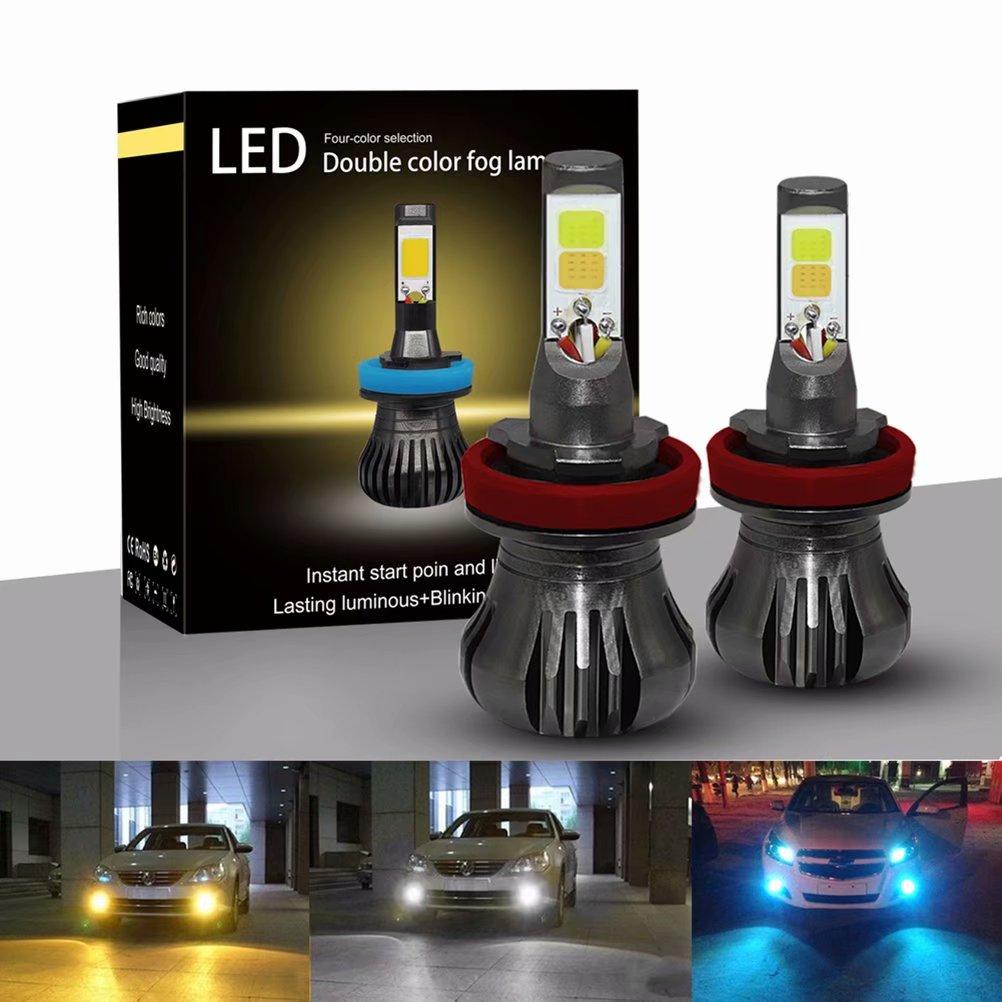 2Pcs H8/H9/H11 LED Lamp Headlight Driving Fog Light Bulb for Car, White + Yellow