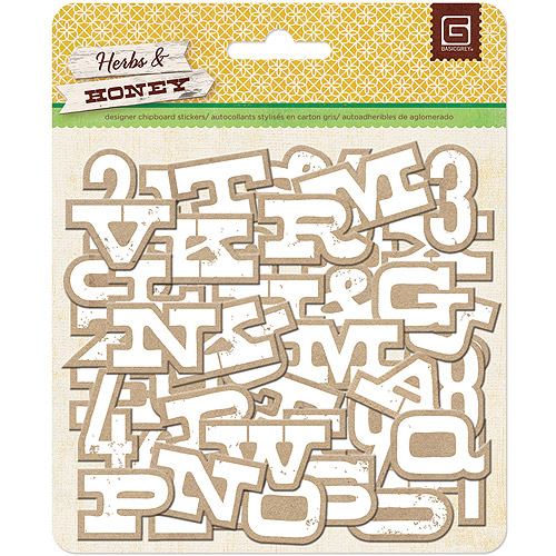 Herbs and Honey Printed Self-Adhesive Chipboard-Kraft with White Alphabet