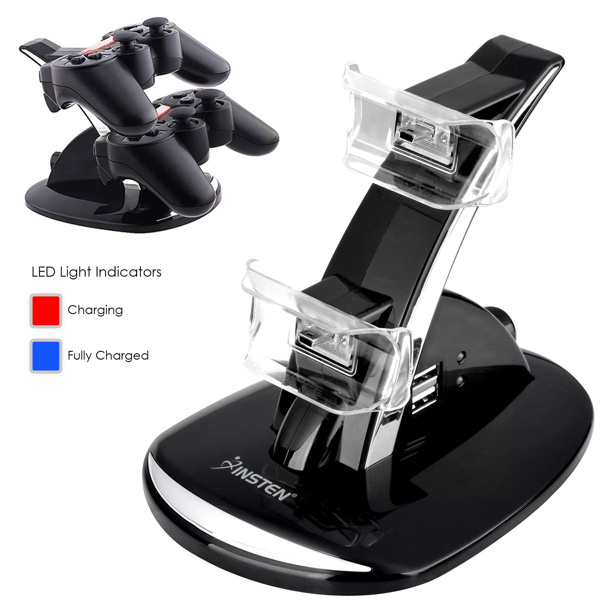 Insten for PS3 Playstation 3 - Controller Charger Dock Docking Station LED light indicator Power Stand (with extra 2 Port USB Charging Hub) for Sony PS3 Dual Shock Wireless Remote Controllers Gamepad